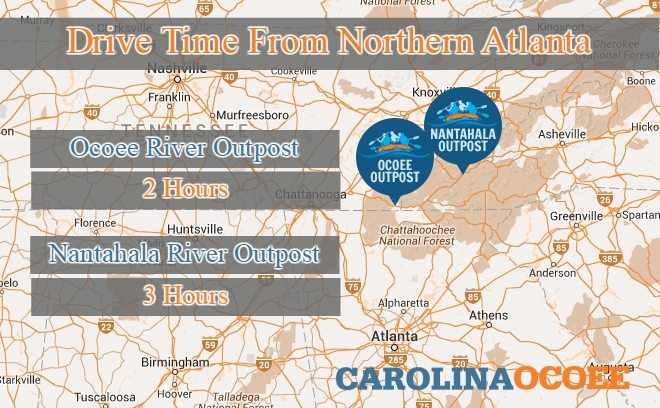 drive time to rafting near Atlanta
